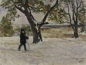 Пластов Аркадий Александрович: «Пейзаж с лыжником»